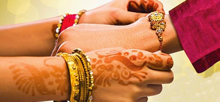 Rakhi representing sibling bond on front hand