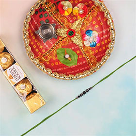 Lava Stone Rakhi with Ferrero Rocher & Pooja Thali