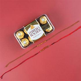 Sandalwood & Rudraksh Rakhi with Ferrero Rocher