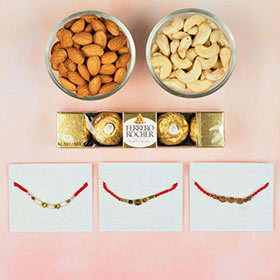 3 Astro Rakhi Set with Dry Fruits and Chocolate