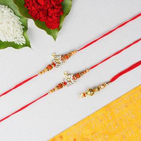 Swaminarayan Rakhi with Lumba   3 Rakhi Set