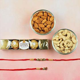 Bhaiya Bhabhi Rakhi with Chocolate and Dry Fruits  -FOR AUSTRALIA