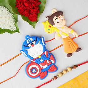 Chota Bheem Captain America & Sandalwood 3 Rakhi Set