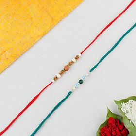 Agate Crystal & Rudraksh 2 Rakhi Set