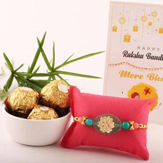 Green Pebble Rakhi & 3pc FR