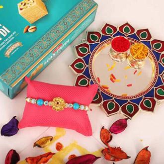 Peacock Rakhi & Thali Combo with Soan