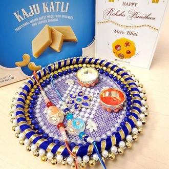 Sequins Rakhi Pair, Thali & Kaju Katli