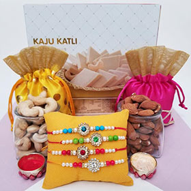 4 Colorful Rakhis, Kaju Mithai & Nuts