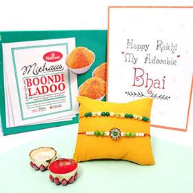 2 Green Rakhis & Boondi Laddoo