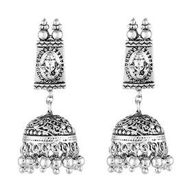 Mahi Oxidised White Rhodium plated Shree Ganesh Tradional Ethnic Jhumka Earring