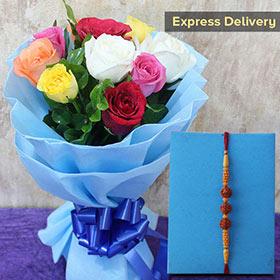 Wow Bouquet N Rakhi Combo