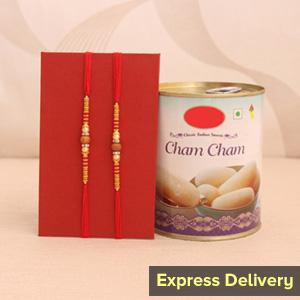 Sweet Chamcham Rakhi Combo
