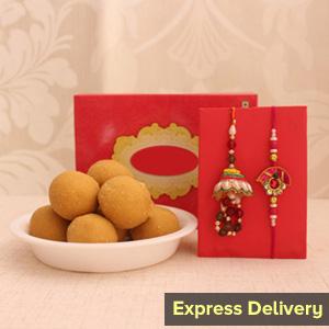 Dazzling Rakhi  with Sweets