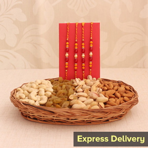 Assorted Dry Fruits with 4 Rakhi