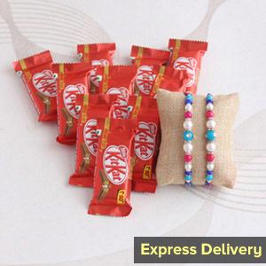 Designer Rakhi with KitKat gift hamper - Rakhi to Pune