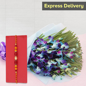 Pearl Rakhi with Blooming Orchids - Rakhi with Flowers