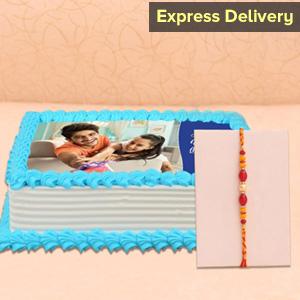 Pearl Rakhi with 1 kg Photo Cake