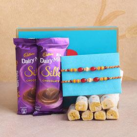 Pearl Rakhi Pair with Delicious Treats