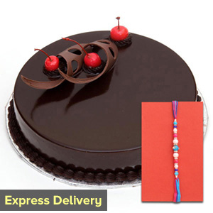Delectable cake with Rakhi