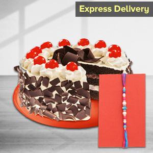 Tasty Rakhi with Black Forest Cake Combo