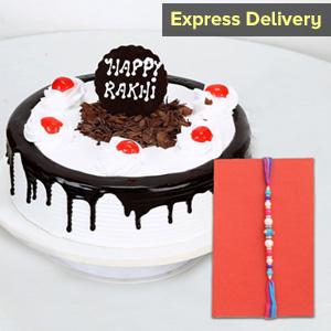 Black Forest Cake with Designer Rakhi