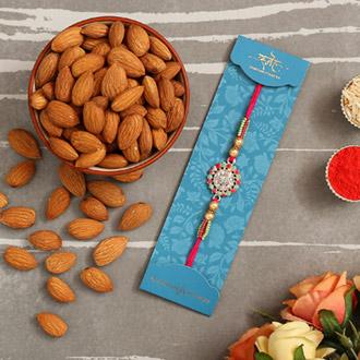 American Diamond Floral Rakhi And Healthy Almonds - Rakhi to Qatar