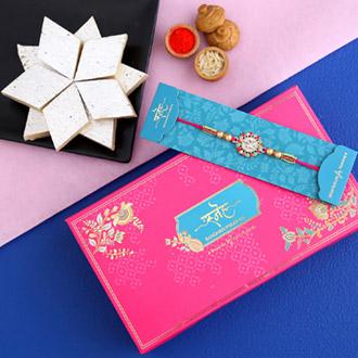 American Diamond Floral Rakhi And Kaju Katli - Rakhi to Qatar