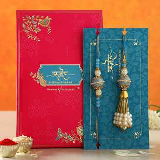 Blue Orb Pearl And Lumba Rakhi Set