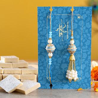 Blue Orb Pearl And Lumba Rakhi Set With Kaju Katli