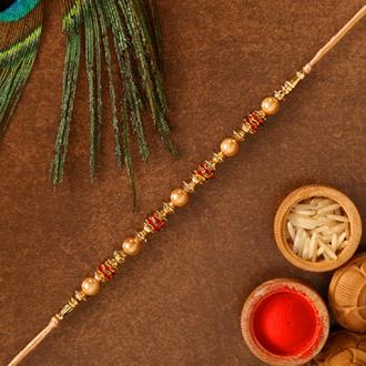Traditional Golden Pearl Rakhi