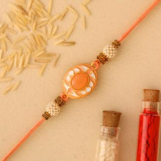 White Peach Stone Designer Rakhi