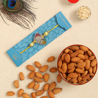 Divine Bal Ganesha Kids Rakhi And Healthy Almonds