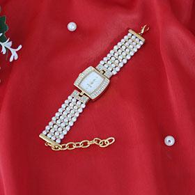 Classy Pearl Stone Studded Wrist Watch