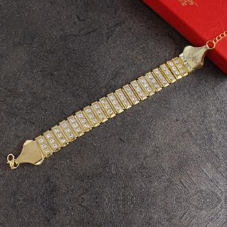 Glittering Golden Bracelet Rakhi - Yellow Colour Rakhi