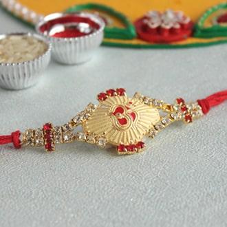 Pristine Om Golden Rakhi