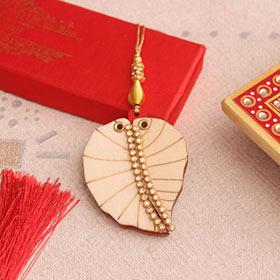 Wooden Peepal Leaf Lumba Rakhi