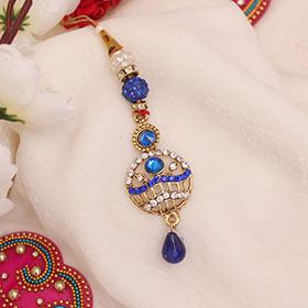 Golden & Blue Lumba Rakhi