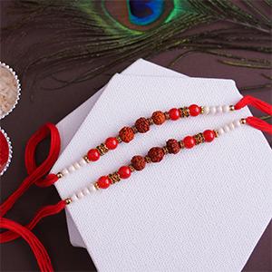 Propitious set of 2 Rakhis - Red Colour Rakhi
