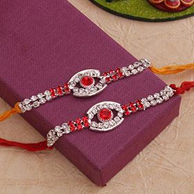 Set of 2 Lovely Stone Rakhis - Red Colour Rakhi