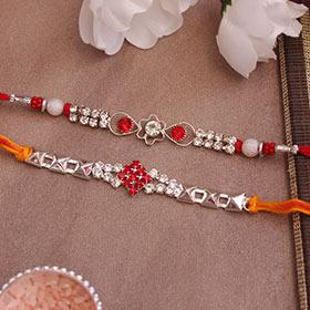 Silver Stone Studded Rakhis pair - Red Colour Rakhi