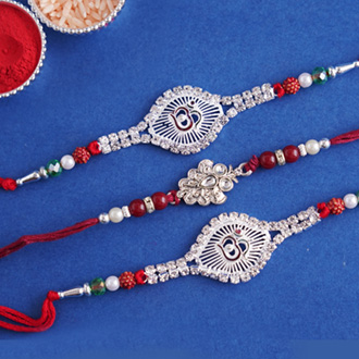 Exclusive set of 3 silver-plated Rakhi