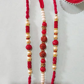 Antique set of 3 designer Rakhi