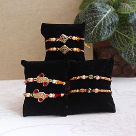 Set of 6 Antique Rakhis - Zari Rakhi