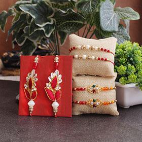 Rakhi Set for Tradition Lovers - Zardosi Rakhi