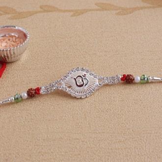 Auspicious Om Silver Rakhi