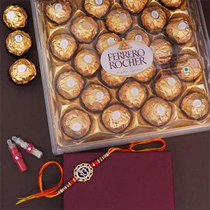 Rakhi with Ferrero Rocher Combo - Rakhi Under 1499-2499