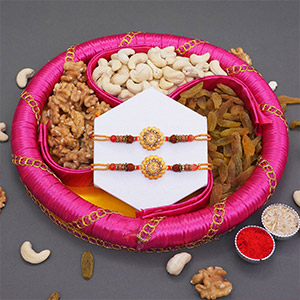 Om Rakhi Pair with Dry Fruits