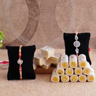 AD Rakhi Pair with Kaju Sweets: