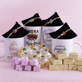Set of 4 Golden Rakhis with Hearty Goodies - Rakhi Over 2499