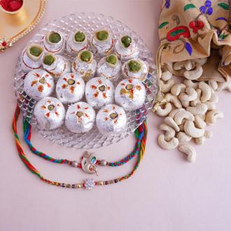 Designer Rakhis with Luscious Sweets Hamper